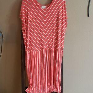 3X Plus Size Coral Pink Stripe Dress